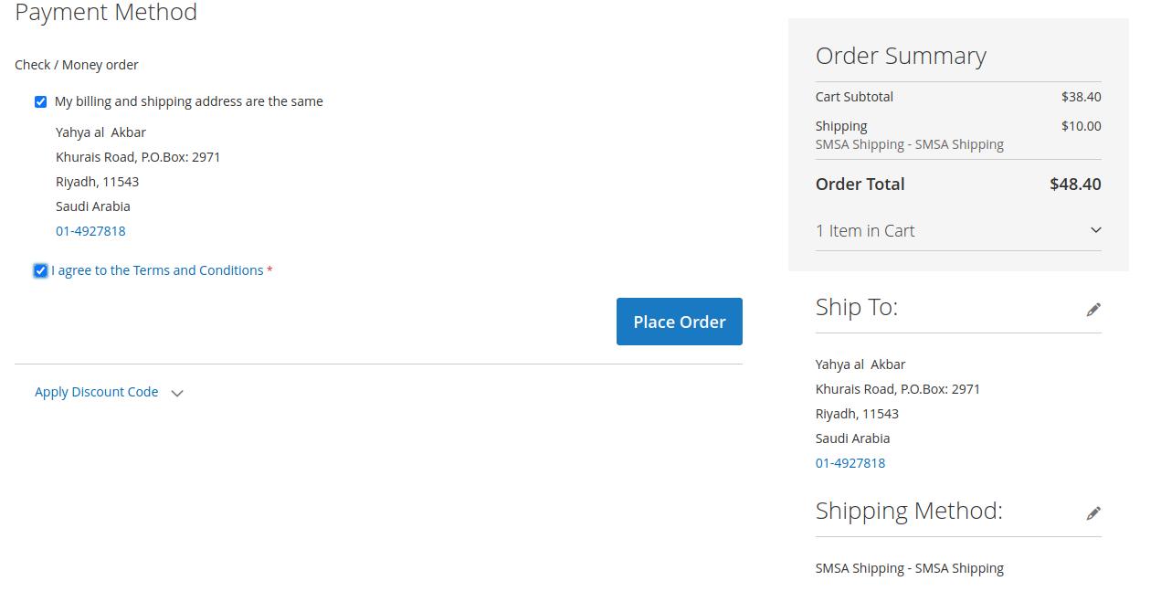 Place Order-SMSA Shipping for Magento 2 Multi-Vendor