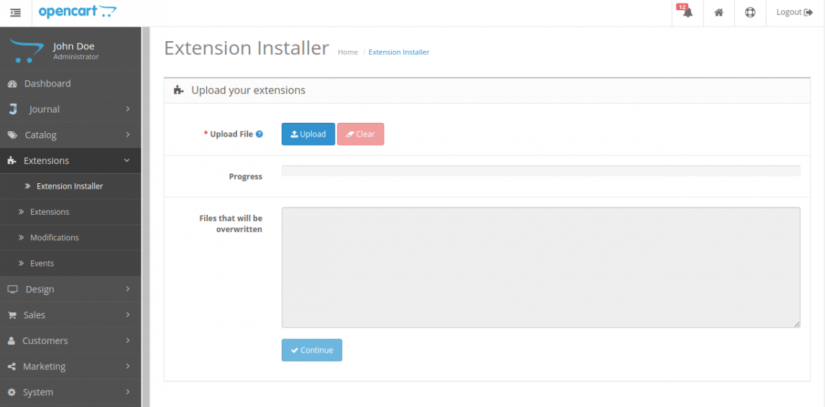 Extension installer-Multi Company SaaS Extension for OpenCart