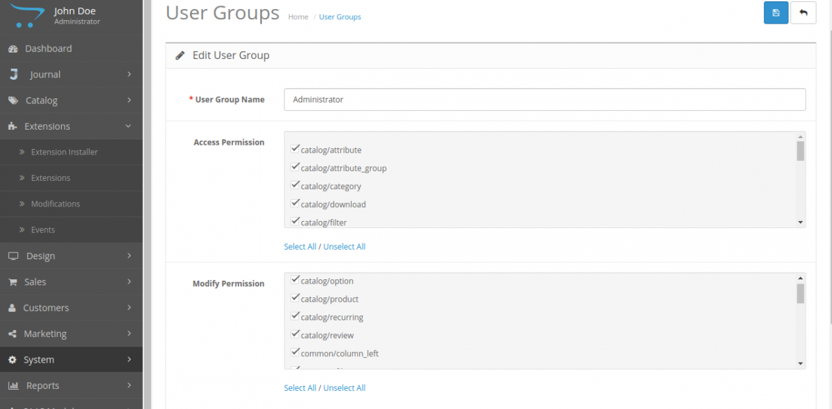 User Groups-Multi Company SaaS Extension for OpenCart