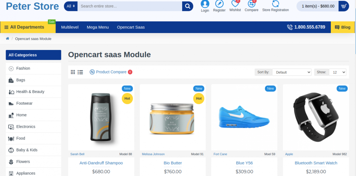 front-end Multi Company SaaS Extension for OpenCart