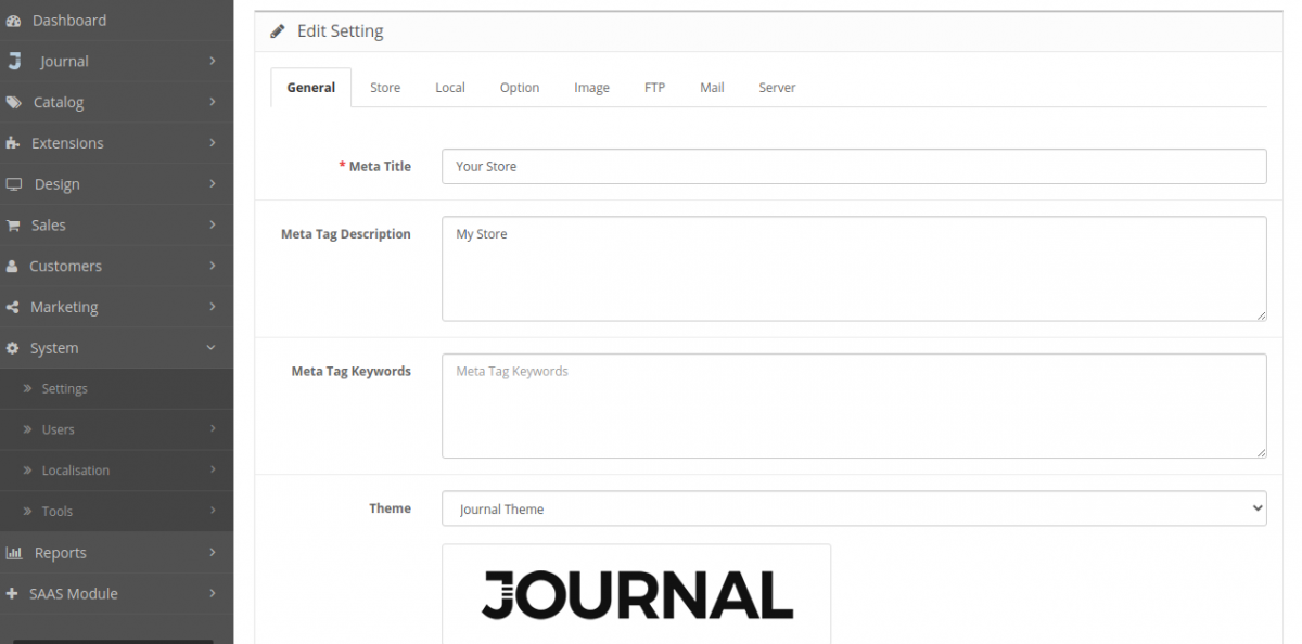 Theme settings-Multi Company SaaS Extension for OpenCart