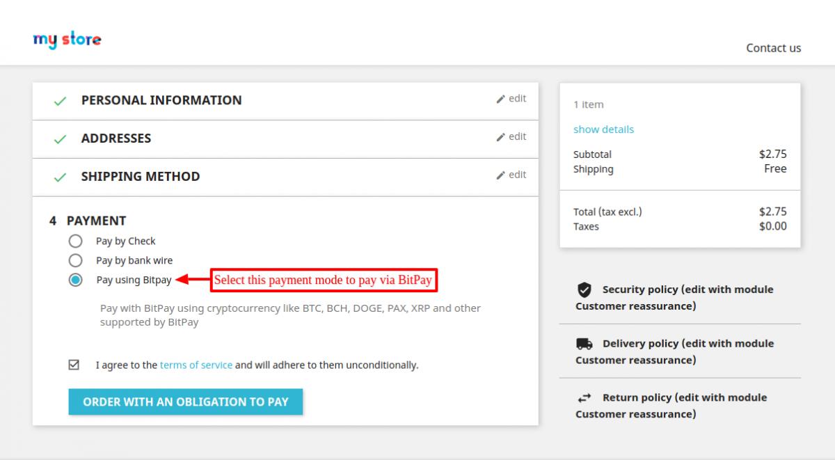 Option to pay via Prestashop Bitpay Payment Gateway