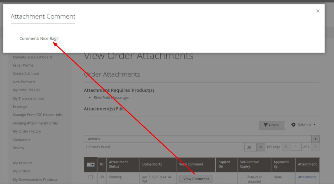 Comment marketplace order attachments