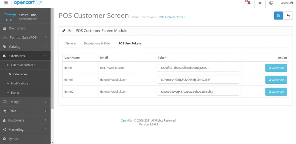 User token Opencart POS Customer Screen