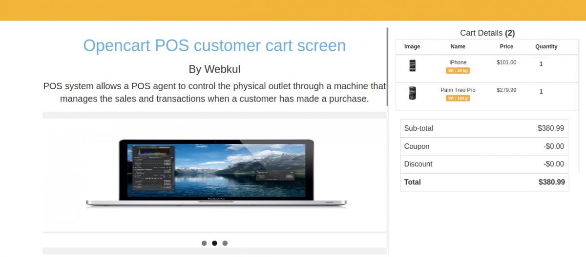 Customer Screen-Customer Cart Screen for Opencart POS