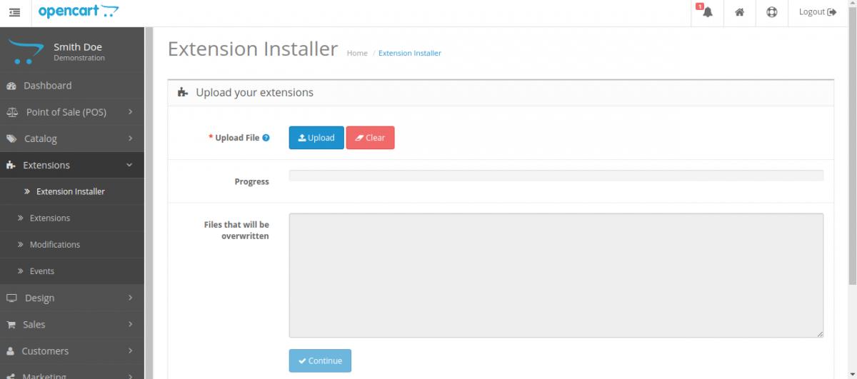 Extension Installer -Customer Cart Screen for Opencart POS