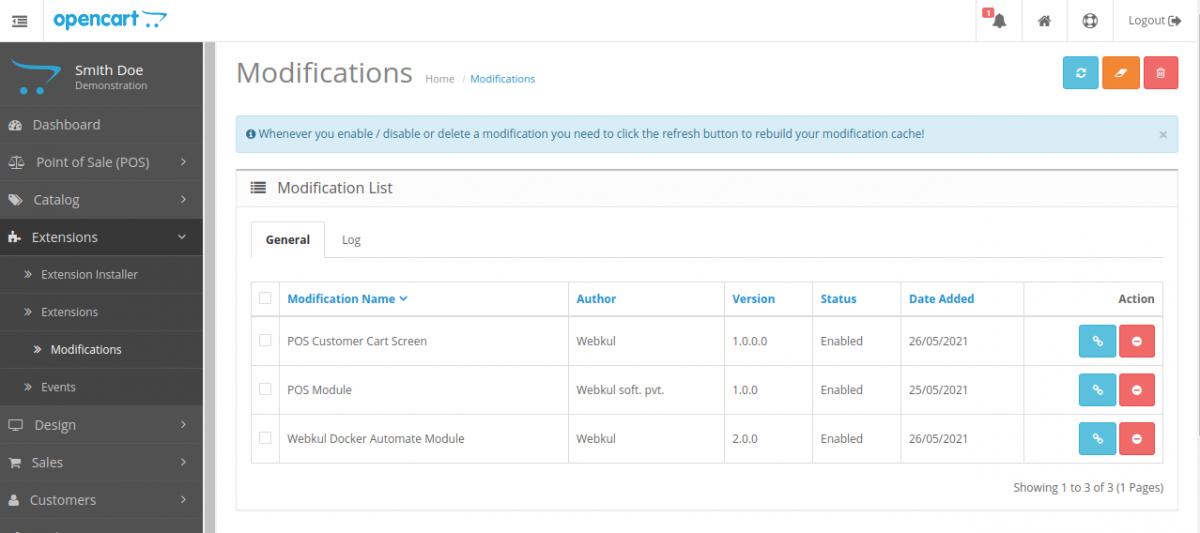 Modification Customer Cart Screen for Opencart POS