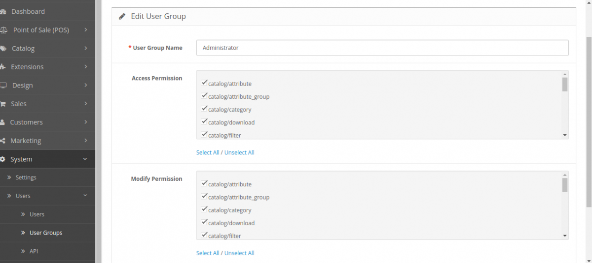 Edit user group Customer Cart Screen for Opencart POS