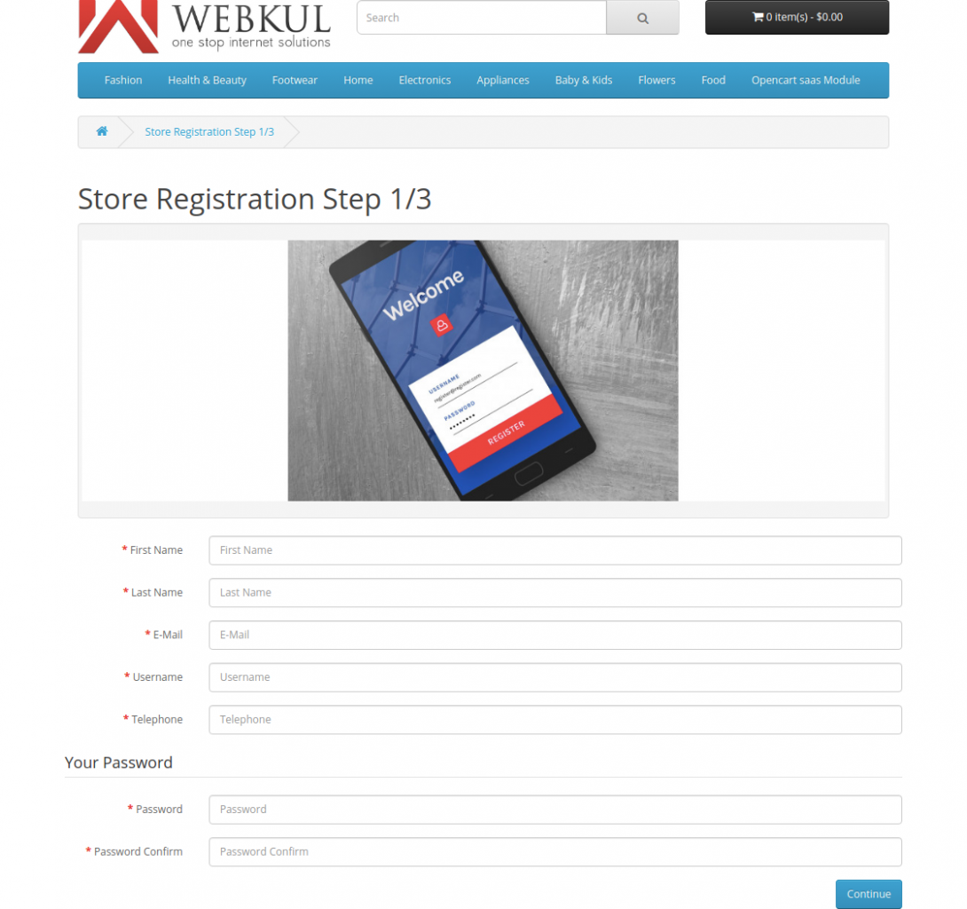 store registration step1-Multi Company SaaS Extension for OpenCart