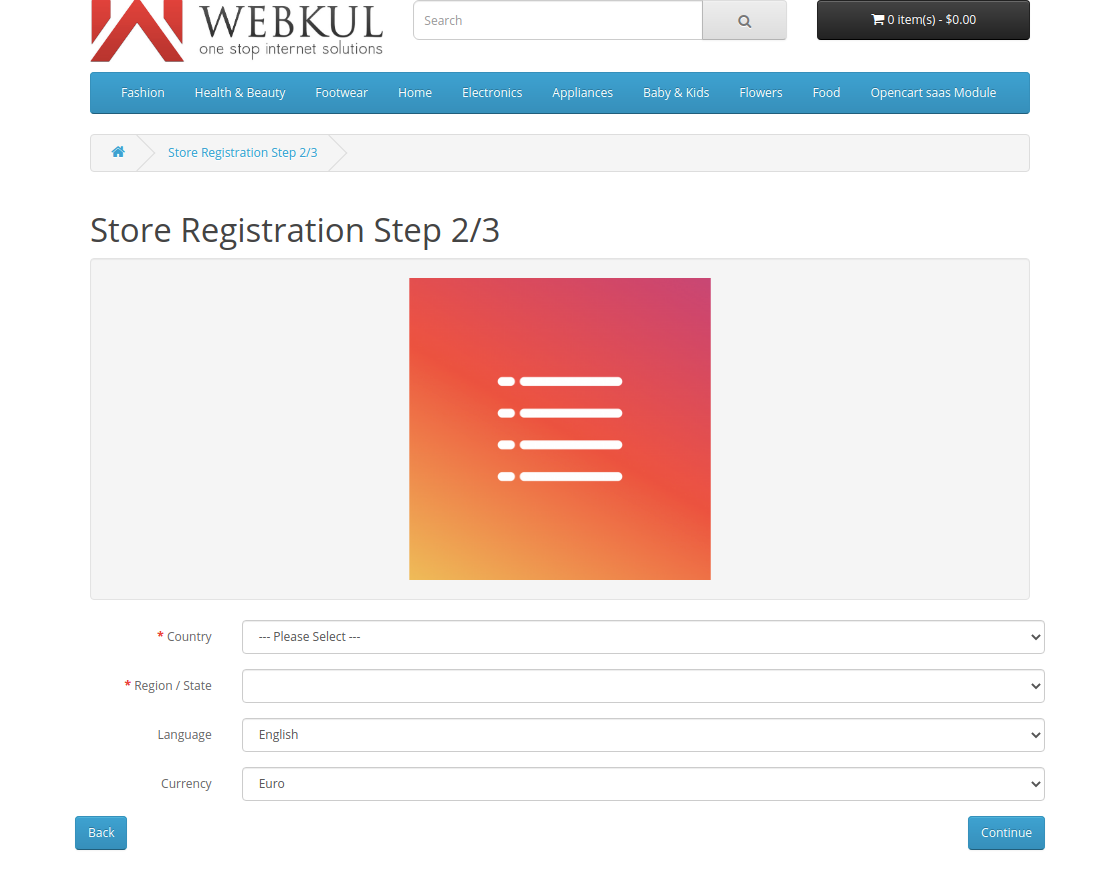 store registration step2-Multi Company SaaS Extension for OpenCart