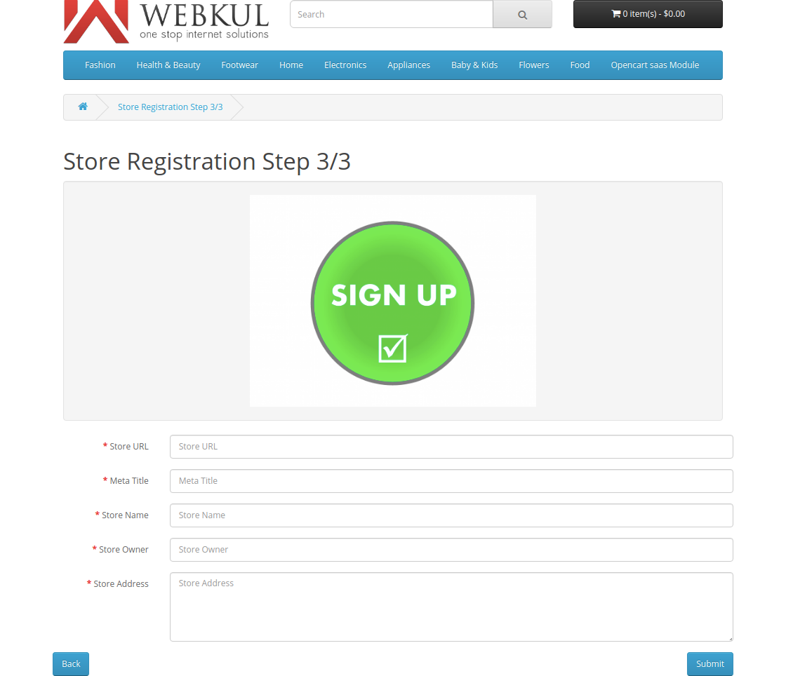 store registration step3-Multi Company SaaS Extension for OpenCart