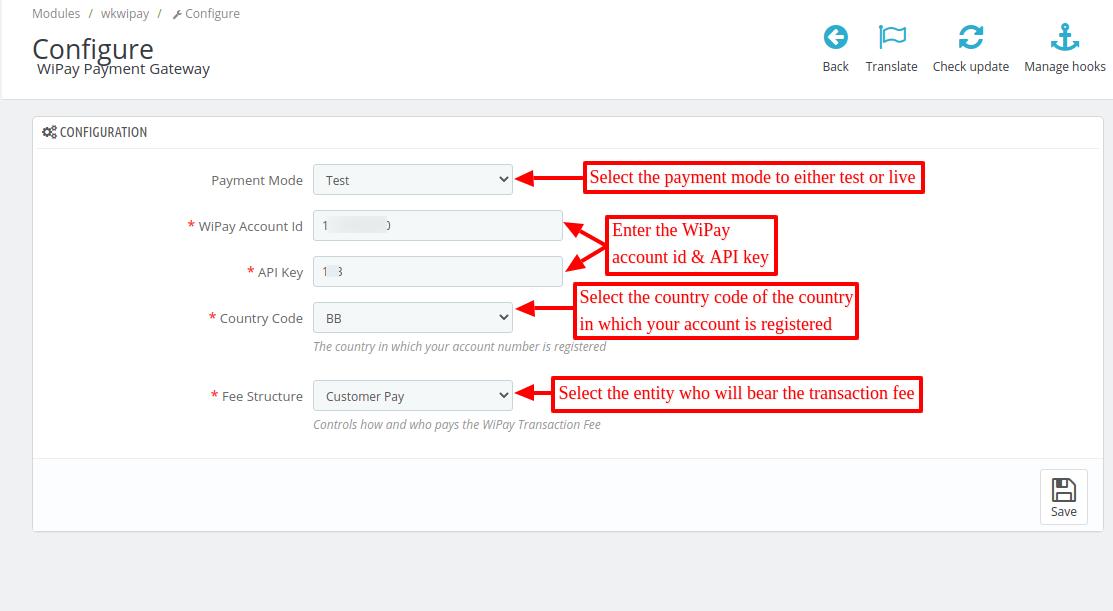 Configure Prestashop WiPay Payment Gateway module