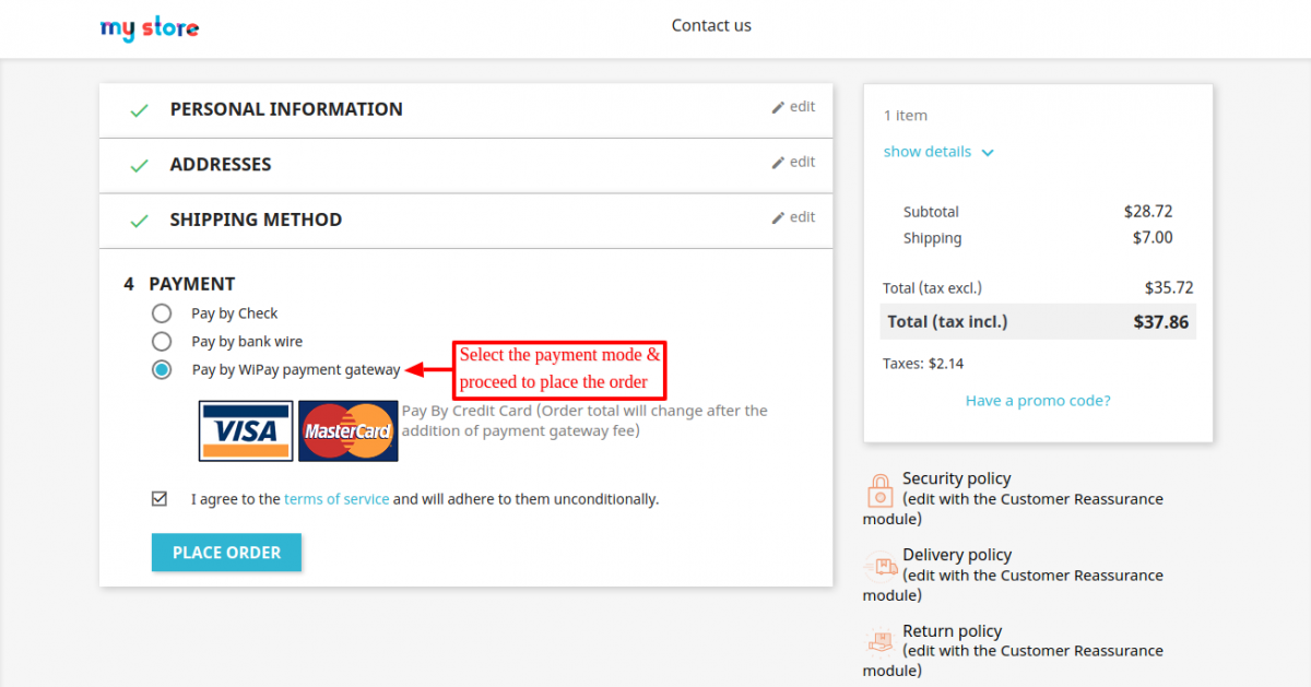 Prestashop WiPay Payment Gateway option on the checkout page