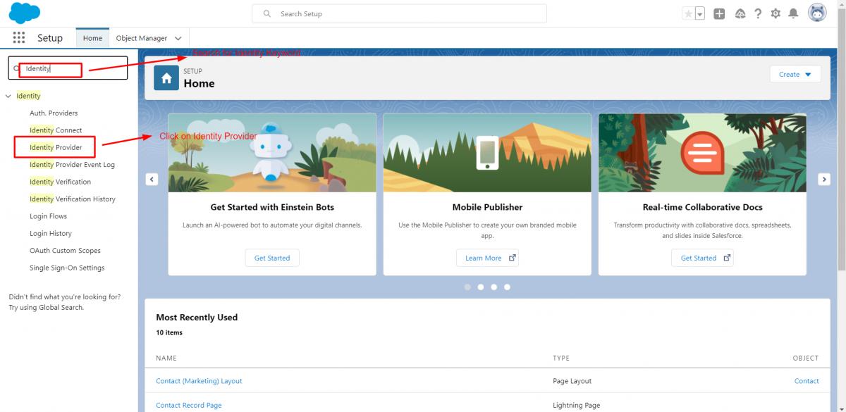 Click on Identity Provider