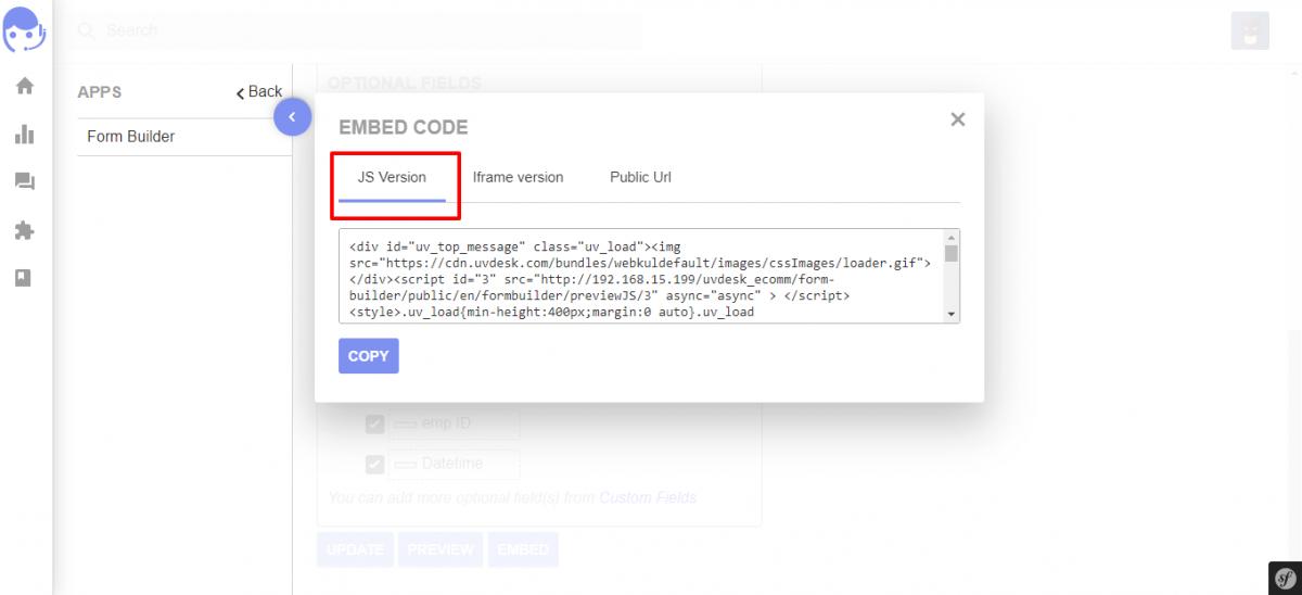 HTML code Form Builder UVdesk