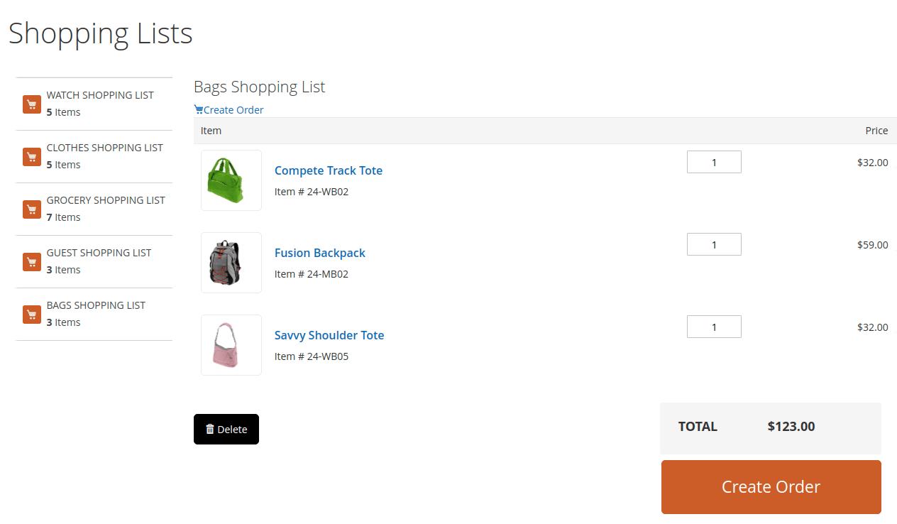 shopping-list--amazon clone in magento 2