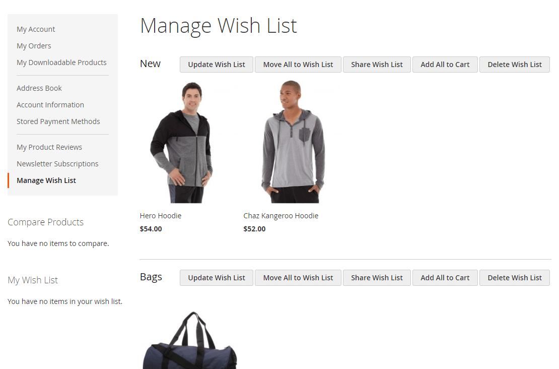 wishlists-manage-amazon clone in magento 2