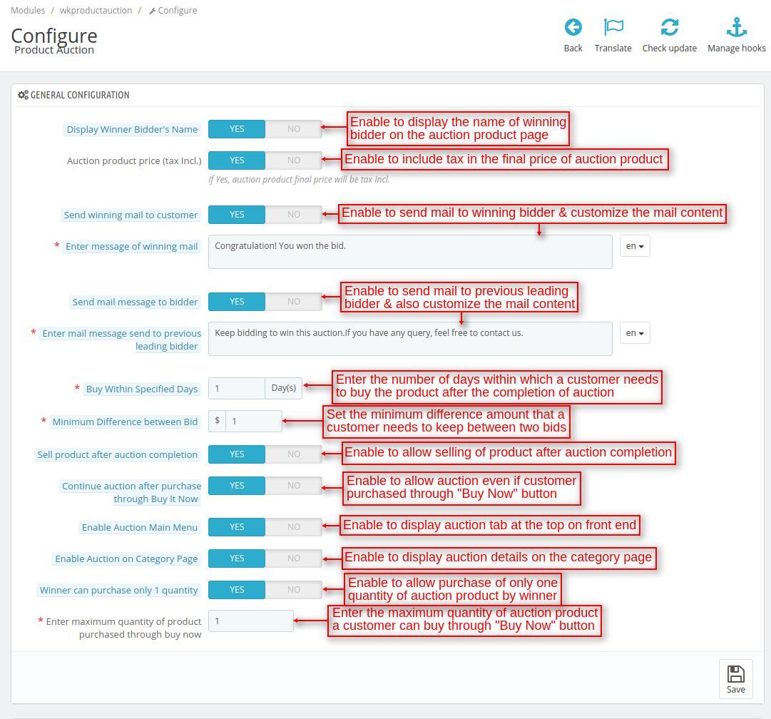 Configure Prestashop Product Auction module