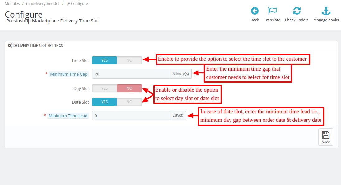 Configure Marketplace Delivery Time Slot