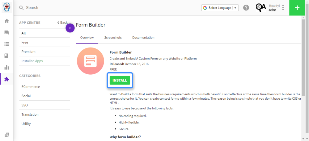 install the form builder app first
