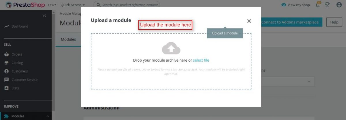 Drop or select the file of Prestashop Product Auction module