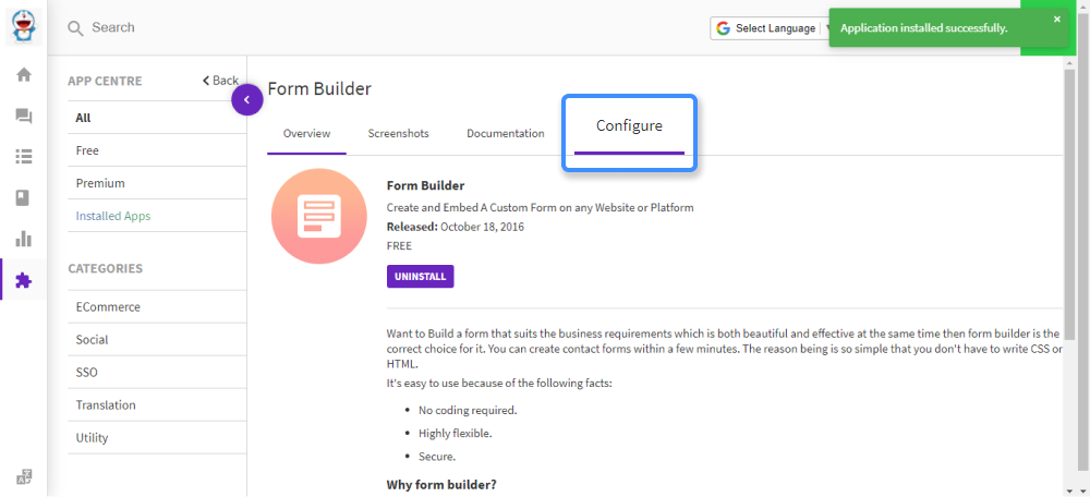 configure option is available after installing the app