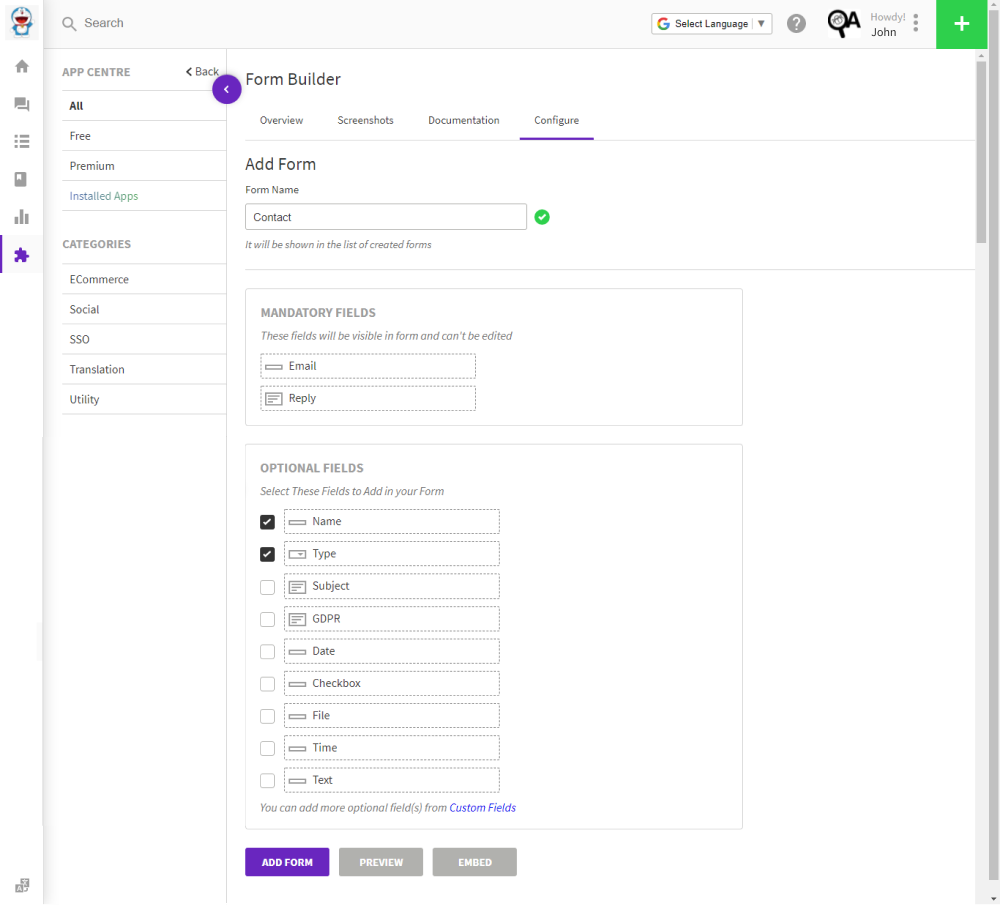add fields to a helpdesk contact form