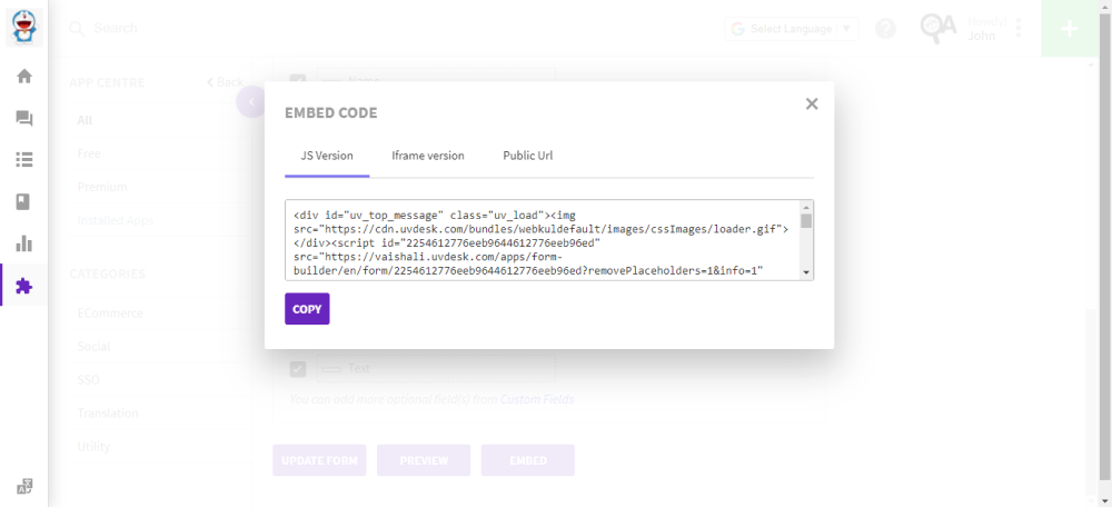 embed code to add helpdesk contact from on a web page
