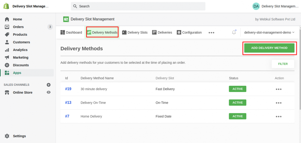add delivery method - delivery point management application