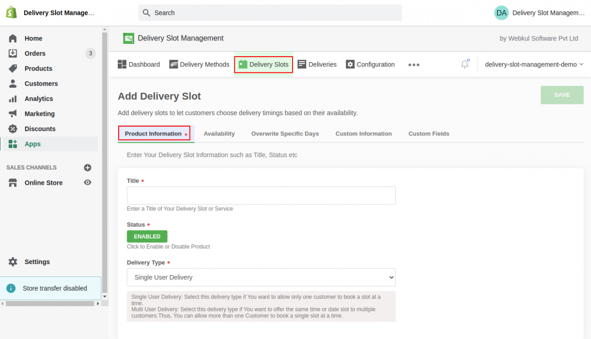 delivery point management application