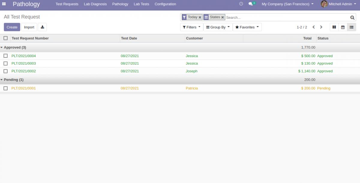Odoo Website Pathology Lab Management System