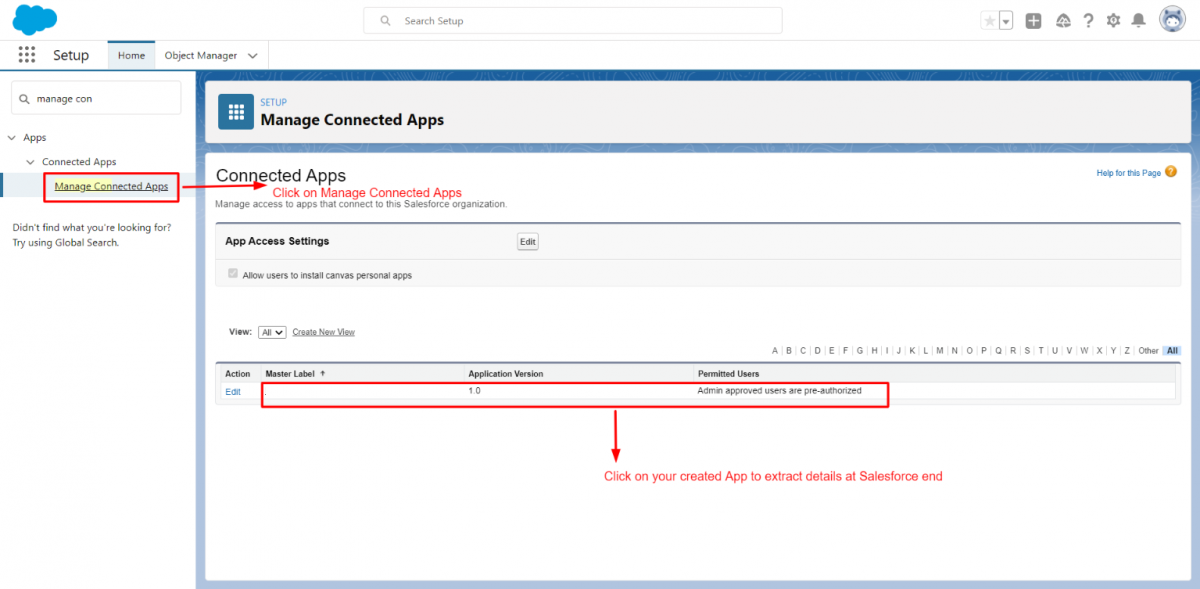 Manage Connected Apps