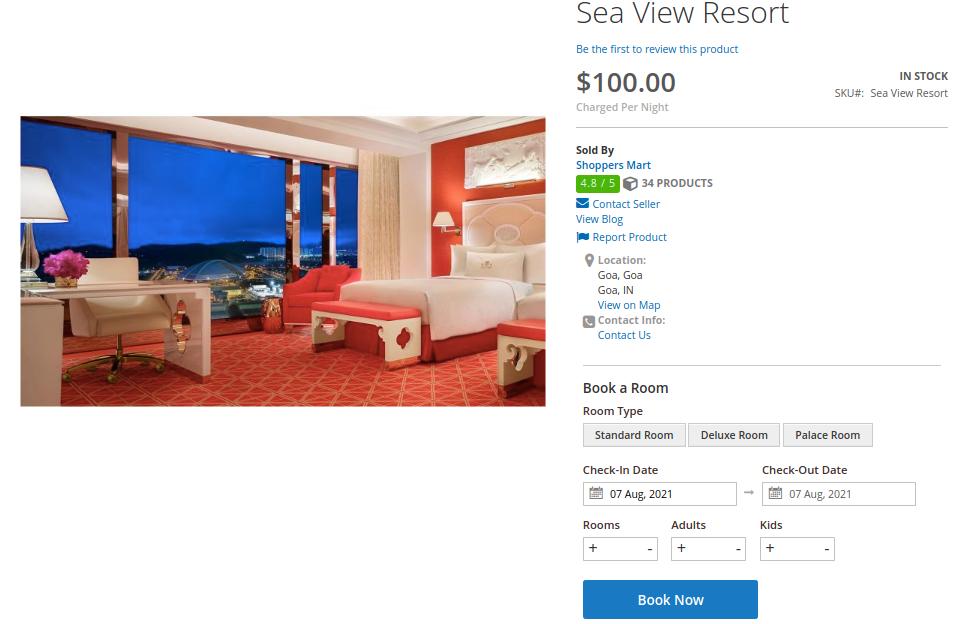 Hotel booking feature of Adobe Enterprise Cloud Marketplace