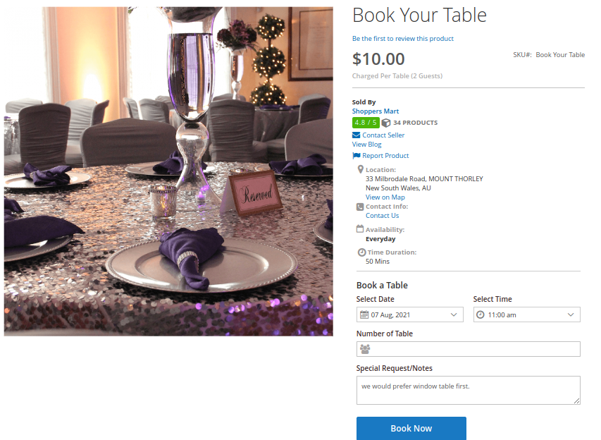 Magento 2 Enterprise Cloud Marketplace Restaurant Booking