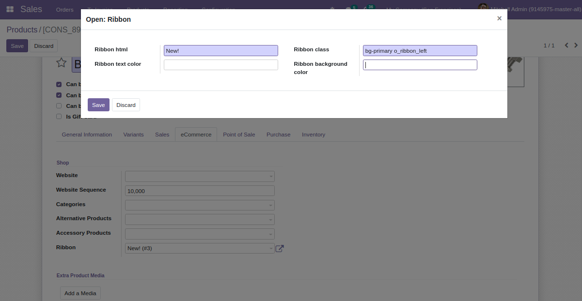 Manage the ribbons of products displayed on the Odoo website