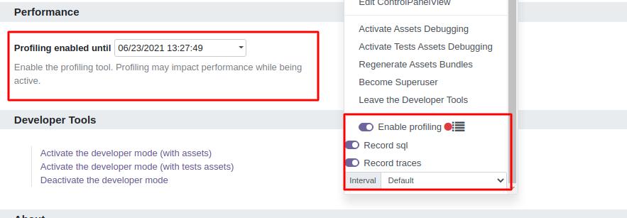 Profiling tool in Odoo 15