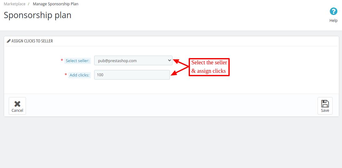 assign clicks to a seller(admin-end)