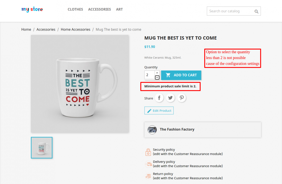 minimum quantity message on product page