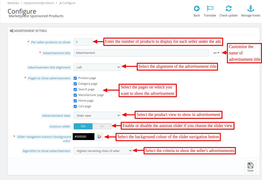 Configure advertisement settings of PrestaShop Marketplace Sponsored Products