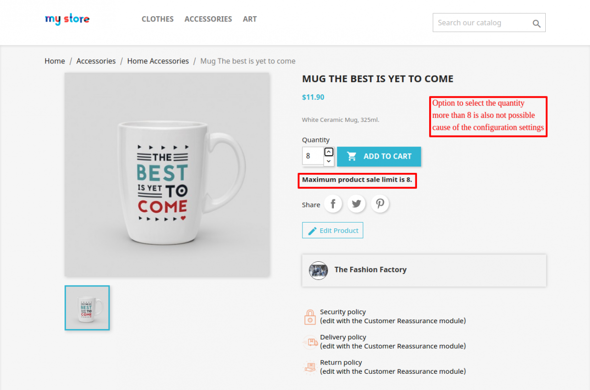 maximum quantity message on product page