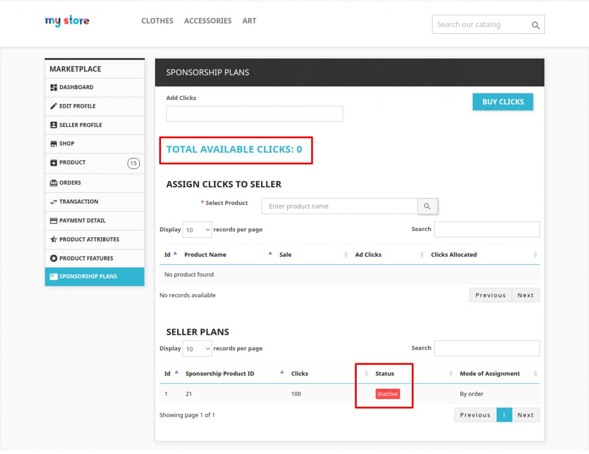 Order Status Pending for the clicks/Sponsorship Plans