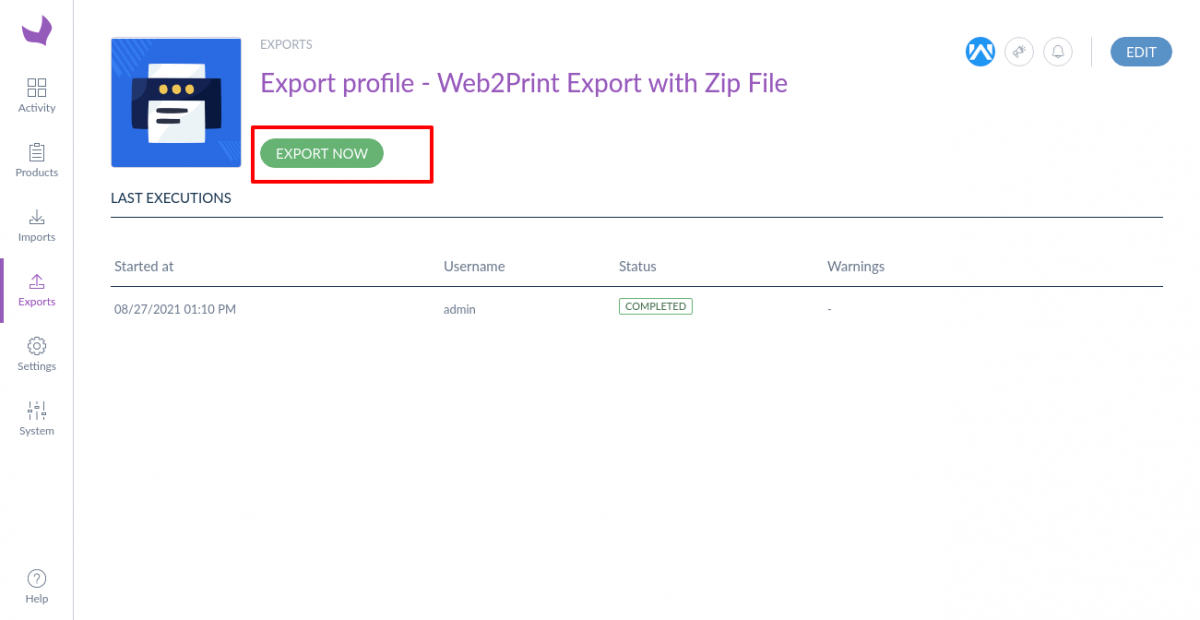 Export-profile-Web2Print-Export-with-Zip-File-Show