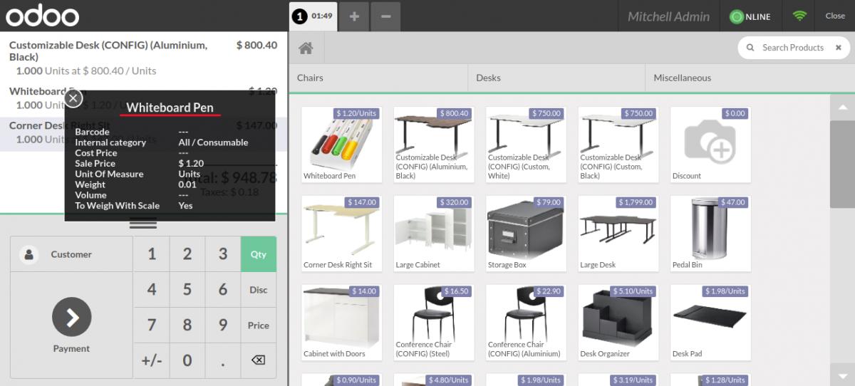 Product details on orderline.