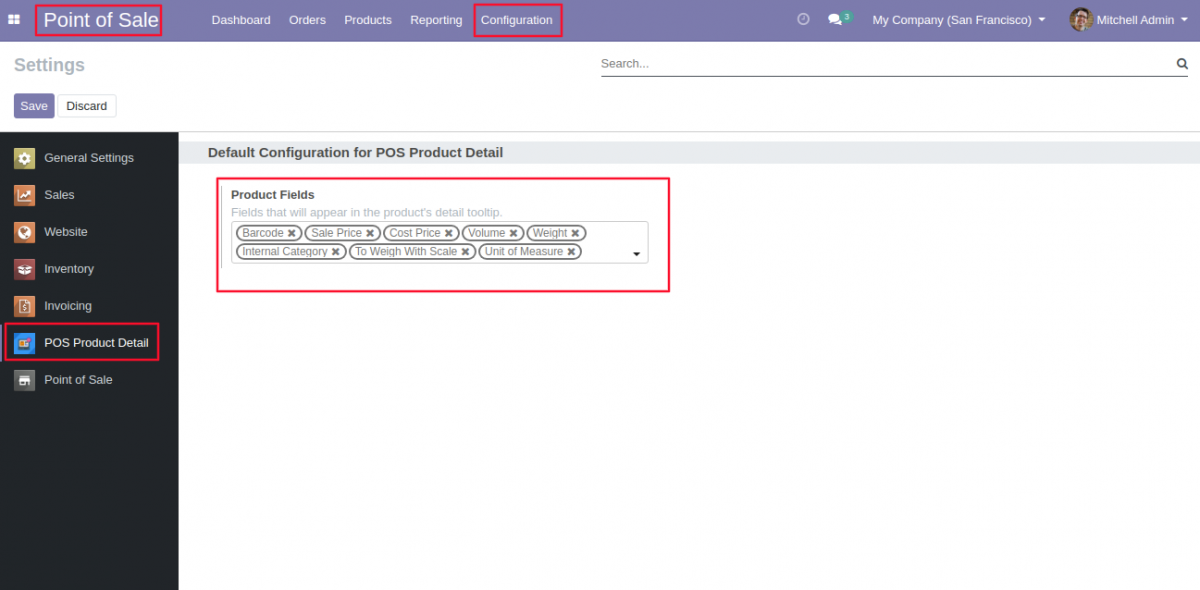 Go to POS configuration & choose product details to show.