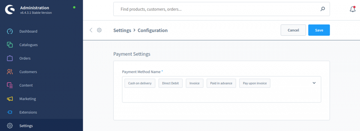 Shopware6-PO-Config-Payment-setting