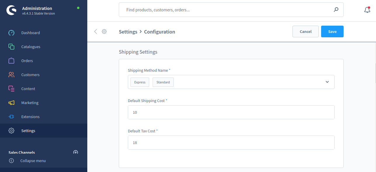 Shopware6-PO-Config-Shipping-setting