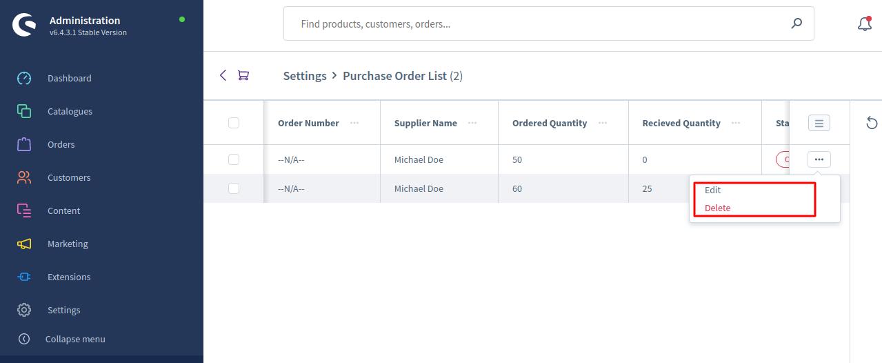 Shopware6-PO-Purchase-order-list-1