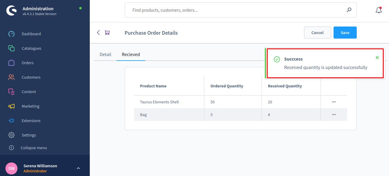 Shopware6-PO-Succesnotification