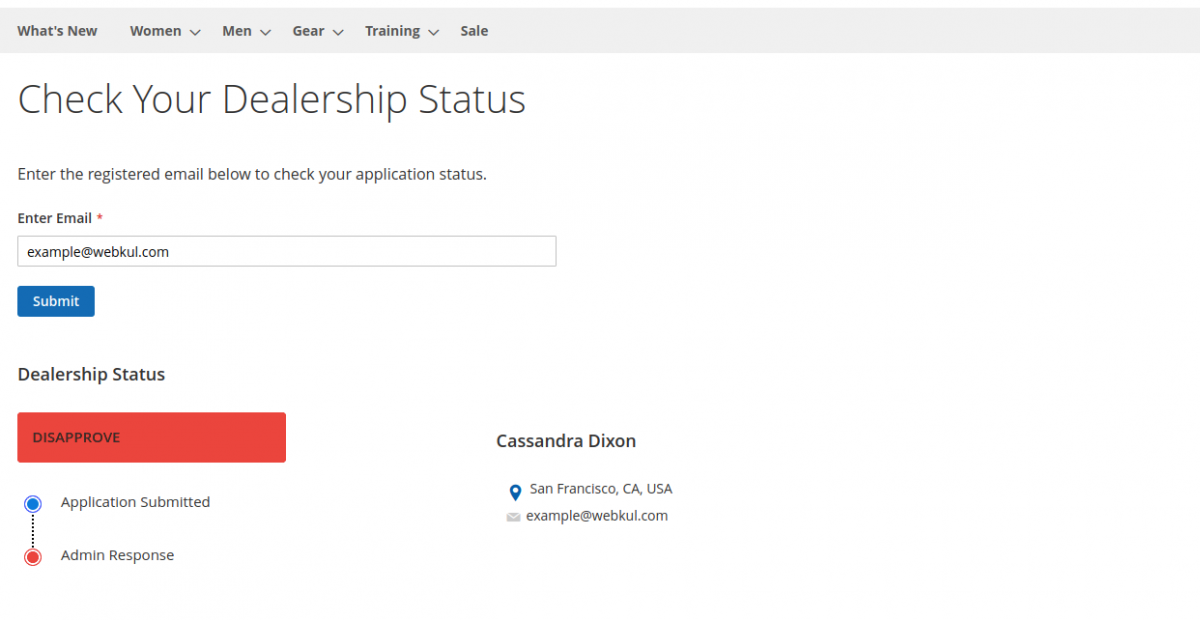 dealership status -disapprove-Magento2 Dealership Extension