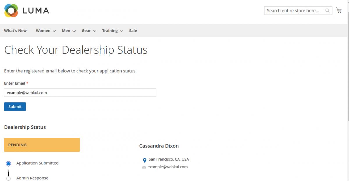dealership Status-Magento2 Dealership Extension